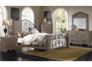 Timber Creek Dresser, Mirror, and King Post Bed