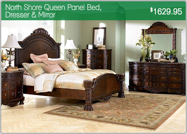 North Shore Queen Panel Bed Dresser & Mirror