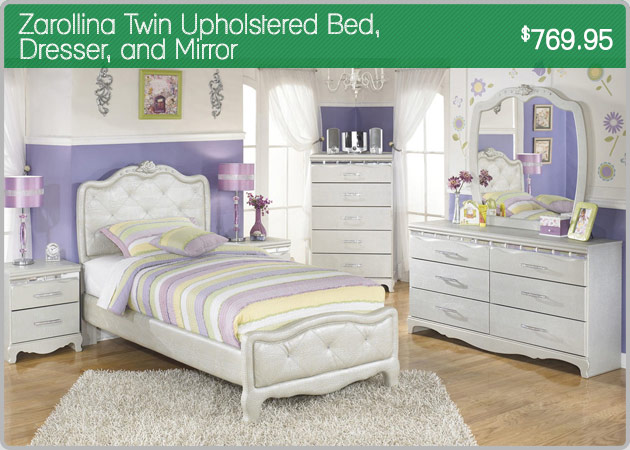 Zarollina Twin Upholstered Bed Dresser and Mirror
