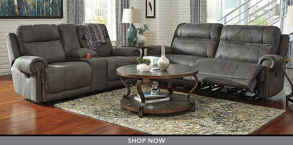 Austere Gray 2 Seat Reclining Power Sofa & Loveseat
