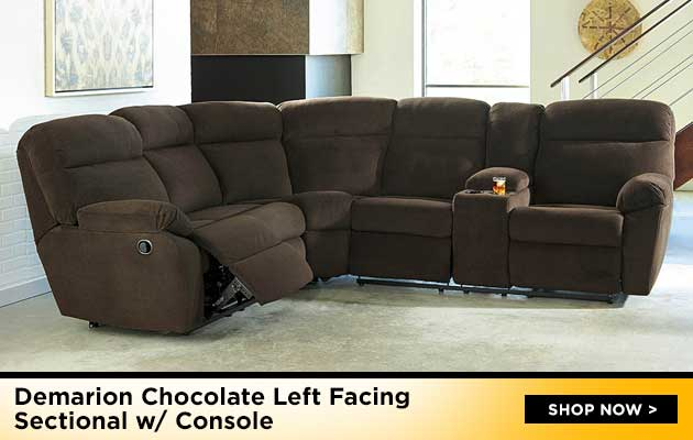 Demarion Chocolate Left Facing Sectional w/ Console