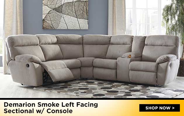 Demarion Smoke Left Facing Sectional w/ Console