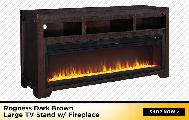 Rogness Dark Brown Large TV Stand w/Fireplace