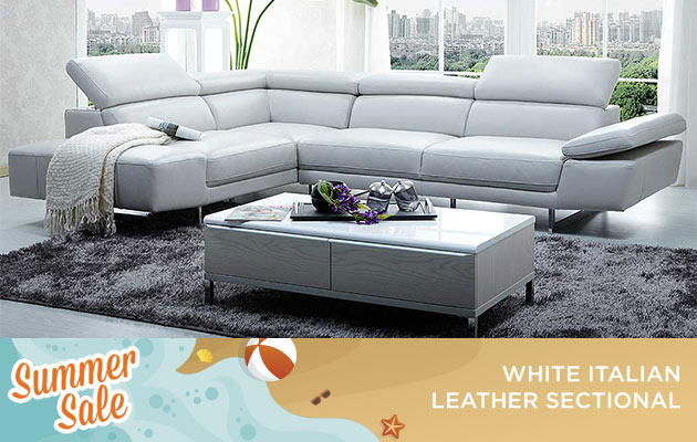 White Italian Leather Sectional