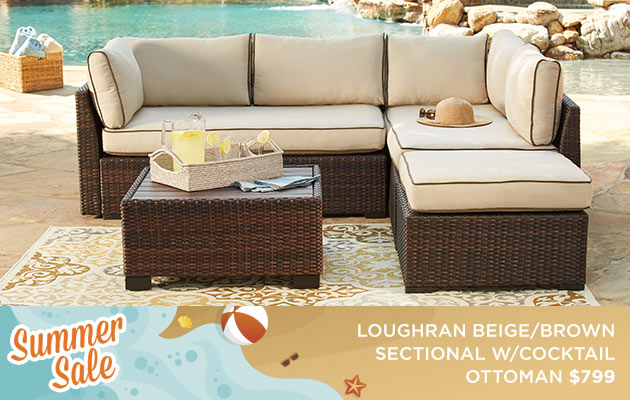 Loughran Beige/Brown Sectional w/Cocktail Ottoman $799