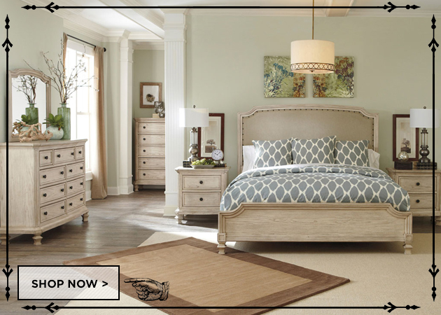 Demarlos Queen Upholstered Panel Bed, Dresser & Mirror
