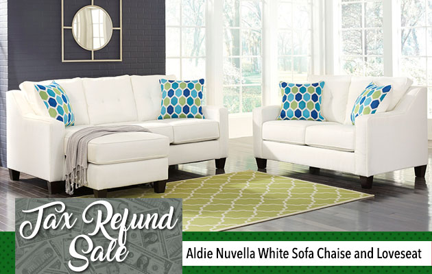 Aldie Nuvella White Sofa Chaise and Loveseat