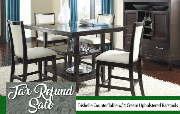 Trishelle Counter Table w/ 4 Cream Upholstered Barstools