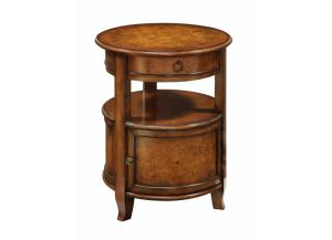 Round Accent Table with 1 drawer & 1 door