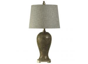 ransitional Table Lamp in Celina Finish Designer Fabric Drum Shade