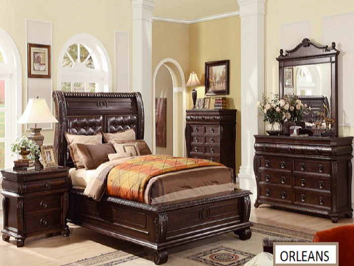 King Bed+Dresser+Mirror+Nightstand & Chest,Orleans Showcase