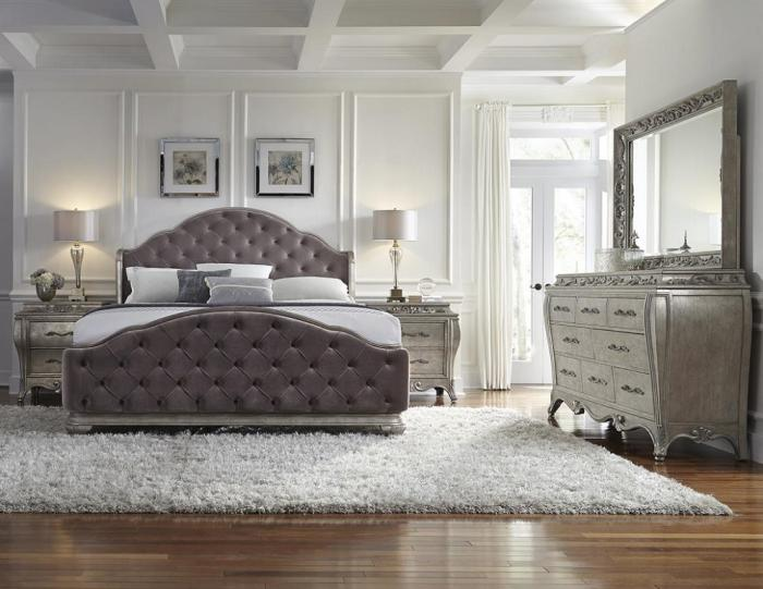 Upholstered Bedroom Set in Silver Patina,Orleans Showcase