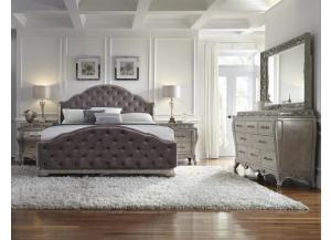 Upholstered Bedroom Set in Silver Patina