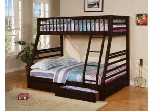 Twin/Full Convertibvle Wood Bunk Bed( With Two Storage Drawer)-AVAILABLE IN ESPRESSO, CHERRY, & OAK