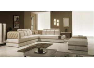 Modern White & Beige Sectional