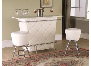 White Bar Table & 2 Bar Chair/ Featuring Stunning Crystal Tufting & Chrome Legs