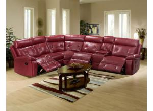 Red Reclining Sectional With 2 Cup Holders