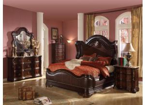 King Bed, Marble Top Dresser, Mirror, Marble Top Nightstand, & Chest