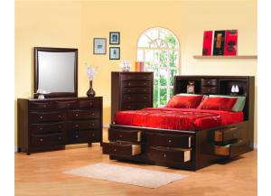 6-Pc Storage Bedroom Set-AVAILABLE IN CAPPUCCINO & LIGHT BROWN