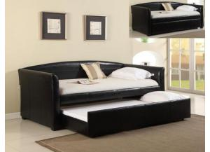 Twin/Twin Black Leather Daybed/ With Trundle- AVAILABLE IN WHITE.