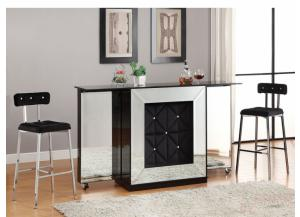Bar Table w/Mirror w/2 Doors w/3 Storage Shelves, Front w/4 Compartments + 1 Drawer, Top w/2 Foldable Extensiotns