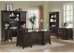 Executive Desk, File Cabinet, & Bookcase