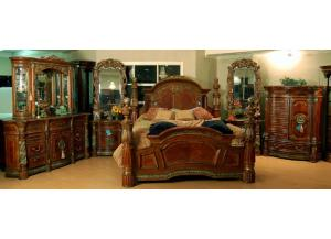King Low Poster Marble Capped Bed Set