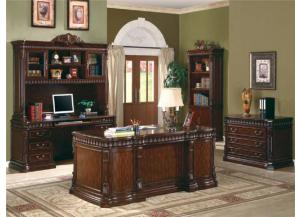 Executive Desk with Computer Storage, Credenza Desk, Hutch, File Cabinet, & Bookcase