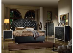 Black Upholstered Bed