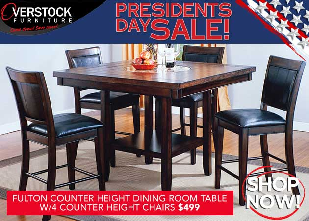 Fulton Counter Height Dining Room Table w/4 Counter Height Chairs