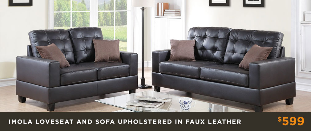 Imola Loveseat and Sofa Upholstered In Faux Leather $599