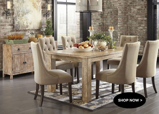 Mestler Washed Brown Rectangular Dining Table w/ 6 Light Brown Upholstered Side Chairs