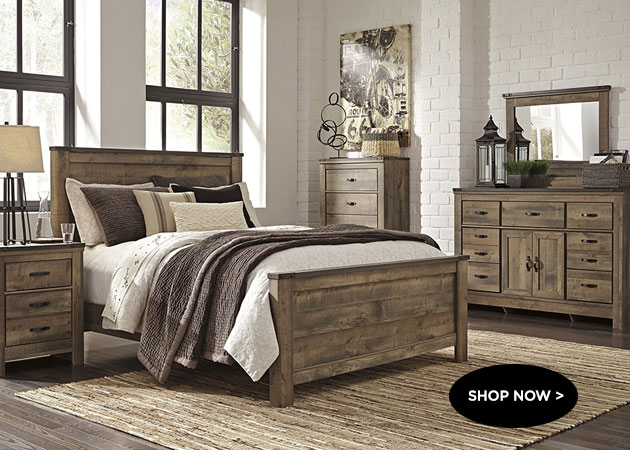 Trinell King Panel Bed w Dresser, Mirror and Nightstand