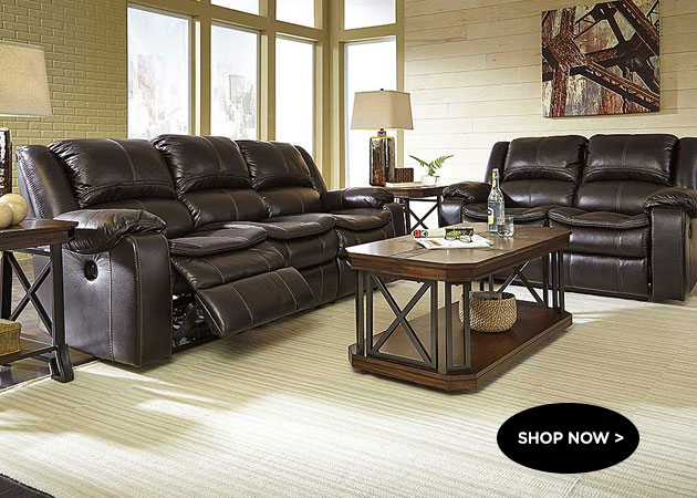 Long Knight Brown Reclining Power Sofa & Loveseat