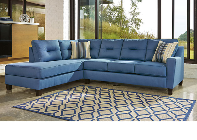 Blue sofa chaise