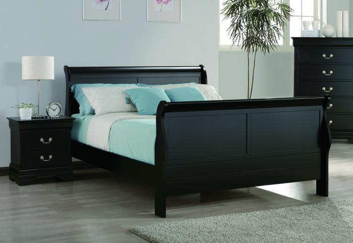 Louis Philippe Black Queen Sleigh Bed,Crown Mark