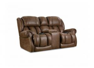 Power Reclining Loveseat with Power Headrest and Lumbar Cognac