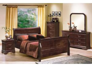 Louis Philippe Cherry Queen Sleigh Bed, Dresser, & Mirror