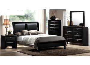 Emily Black King Panel Bed, Dresser, & Mirror
