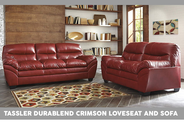 Tassler DuraBlend Crimson Loveseat and Sofa