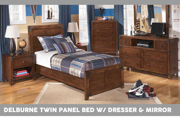 Delburne Twin Panel Bed w/ Dresser & Mirror