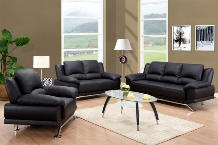 Black Bonded Leather Sofa & Loveseat,Quality Furniture In-Store
