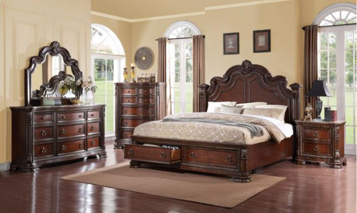 Riviera Queen Storage Bedroom Set Cherry finish (Queen bed, dresser, mirror, 1 night stand),Quality Furniture In-Store