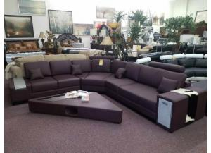 #2516 Brown Bonded leather Sectional