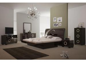 Monte Carlo King Bedroom Set - WENGE (King Bed, Dresser, Mirror, 1 Night stand