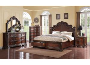 Riviera Queen Storage Bedroom Set Cherry finish (Queen bed, dresser, mirror, 1 night stand)