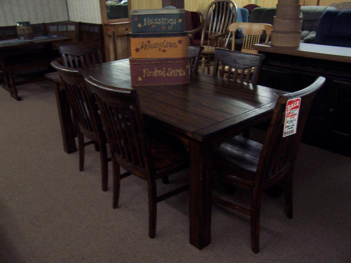 Rustic table with 6 chairs,Ahner New Furniture
