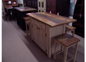 Rustic Amish Island with 2 Stools
