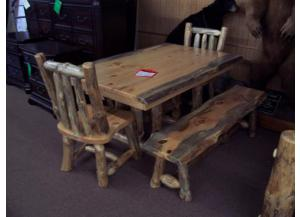 Amish made log table w/ 2 benches and 2 chairs