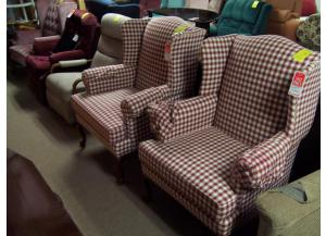 Red checked wing chair